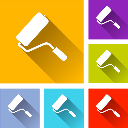 farbrolle: Illustration der bunten quadratischen Farbroller icons set