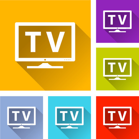 televisor: illustration of colorful square tv icons set