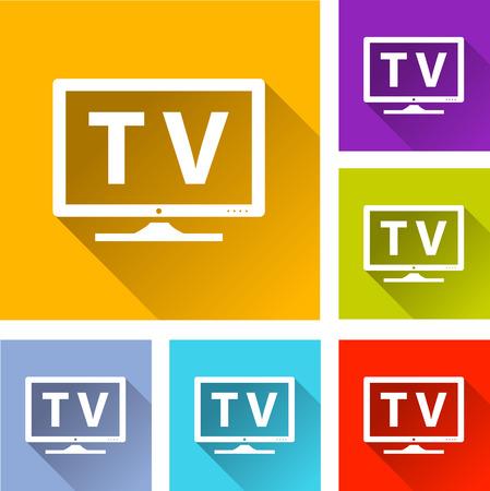 televisor: illustration of colorful square tv icons set