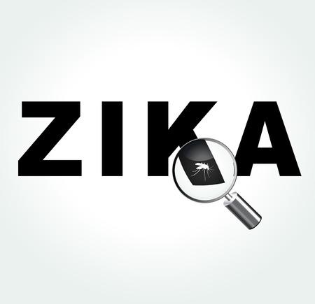 illustration of zika virus word with mosquito Stock Illustratie