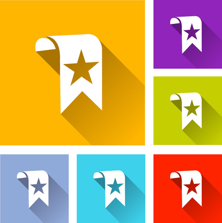 bookmark: illustration of colorful square bookmark icons set