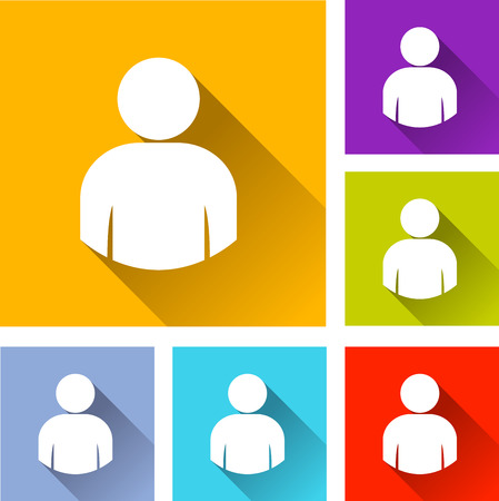 person: illustration of colorful square user icons set