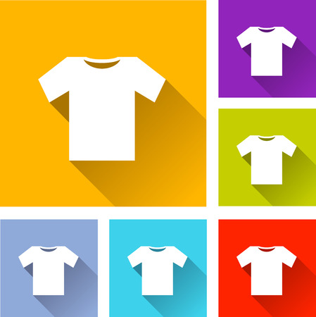 illustration of colorful square tee shirt icons set Ilustração