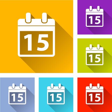 agenda: illustration of colorful square calendar icons set