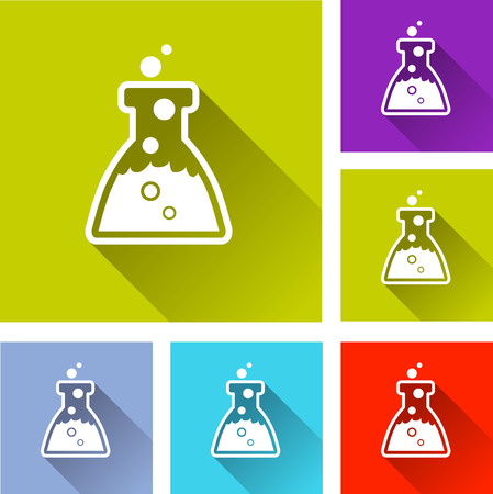 green chemistry: illustration of colorful square chemistry icons set