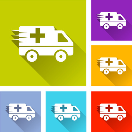 firstaid: illustration of colorful square ambulance icons set Illustration