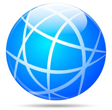 blue ball: illustration of blue globe on white background Illustration