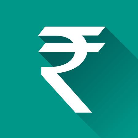 rupee: illustration of rupee flat design icon isolated Illustration