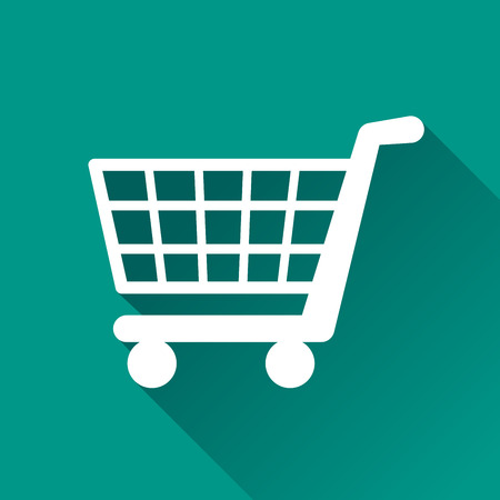 shopping cart online shop: illustration of shopping flat design icon isolated