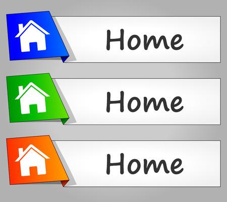 menu button: illustration of home web buttons banners set