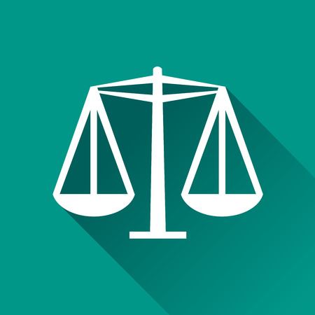justice scale: illustration of equality flat design icon isolated Illustration