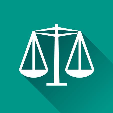 justice balance: illustration of equality flat design icon isolated Illustration