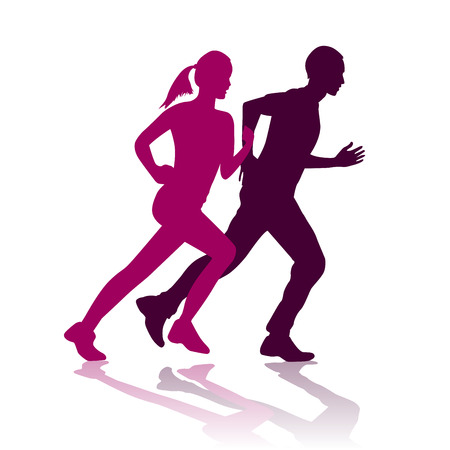 running: illustration of man and woman running silhouette