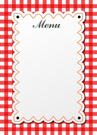 Illustration of restaurant traditional menu with gingham 일러스트