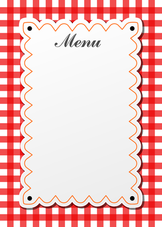 Illustration of restaurant traditional menu with gingham Çizim