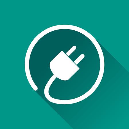 Illustration of electric plug icon with shadow Illustration