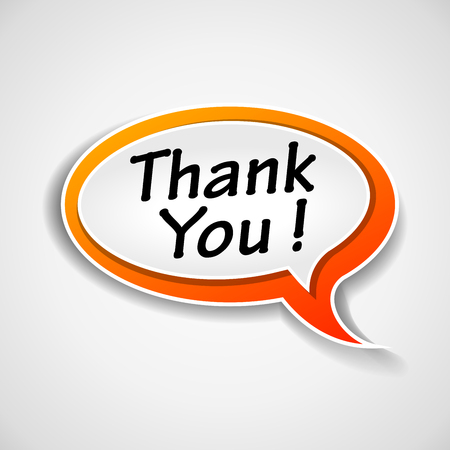 Illustration of thank you speech bubble on white background