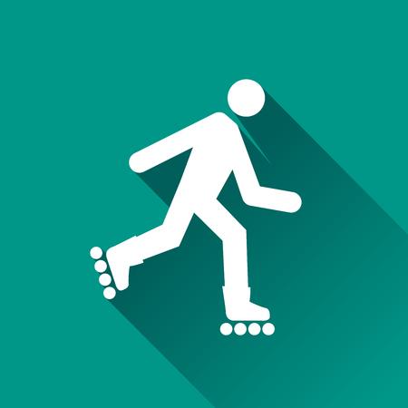 rulos: Ilustración de patines icono con la sombra Vectores