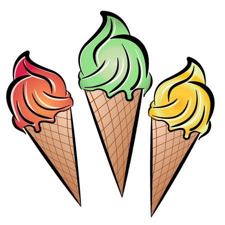 Illustration of three ice cream on white background
