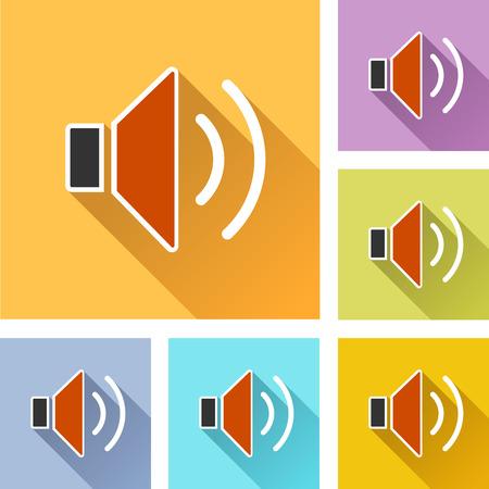 Illustration of speaker colorful design set icons