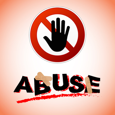 warning against a white background: Illustration of stop abuse concept with text
