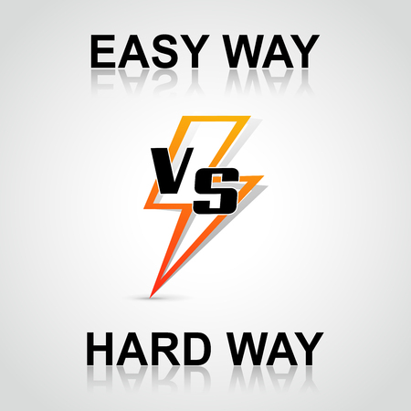 difficult lives: Illustration easy versus hard way concept Illustration
