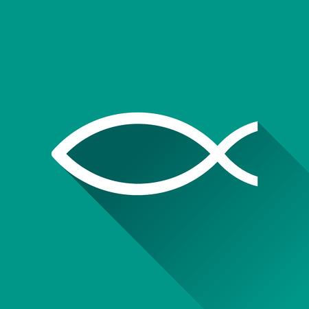 Illustration of jesus fish icon with shadow