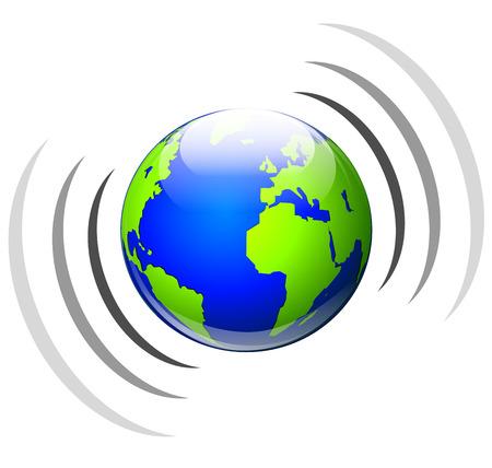 broadcasting: Illustration of worldwide broadcasting icon on white background Illustration