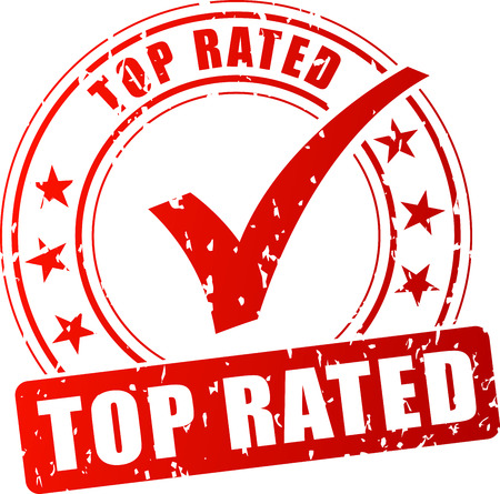 rated: Illustration of top rated red stamp on white background