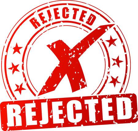 Illustration de timbre rouge rejeté sur fond blanc