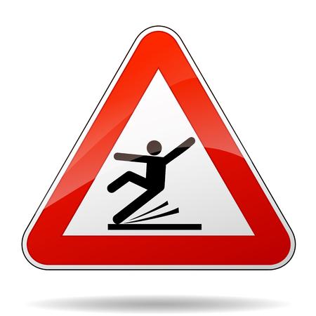 Illustration of warning sign for wet floor Illustration