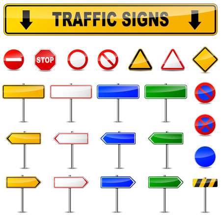 Illustration of various traffic signs on white background Stock Vector - 68078473