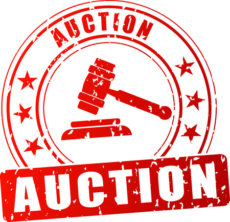 Illustration of auction red stamp on white background Vettoriali