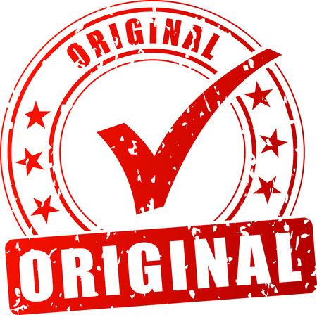 postmark: Illustration of original red stamp on white background