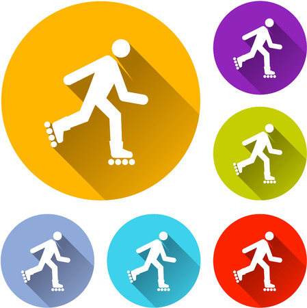 rollerblades: Illustration of six rollerskate icons with shadow Illustration