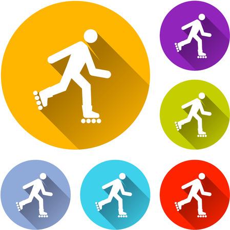 rulos: Ilustración de seis iconos rollerskate con la sombra