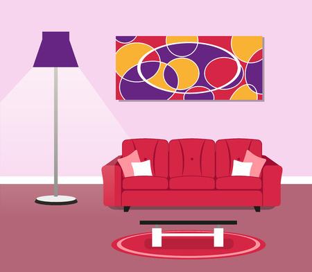 cocooning: Illustration of living room modern design concept