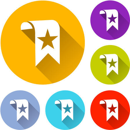 Illustration of six bookmark icons with shadow Illustration