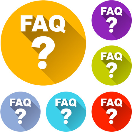 Illustration of six questions icons with shadow