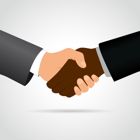 interracial: Illustration of interracial handshake concept on white background Illustration