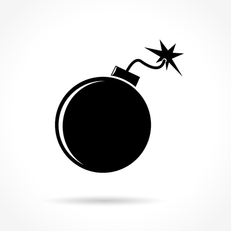 gaz: Illustration of bomb icon on white background