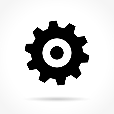 preference: Illustration of gear icon on white background Illustration