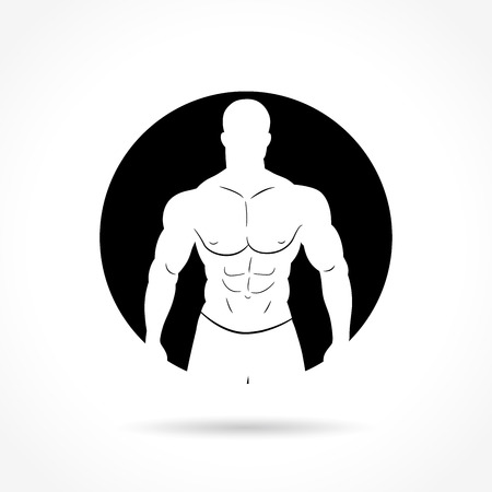muscular body: Illustration of bodybuilding icon on white background