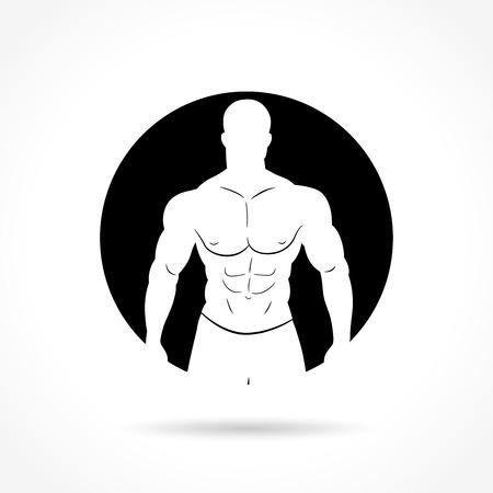body building exercises: Illustration of bodybuilding icon on white background