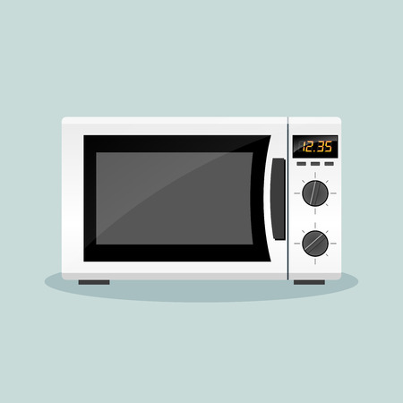 microwave oven: Illustration of microwave oven flat design concept Illustration
