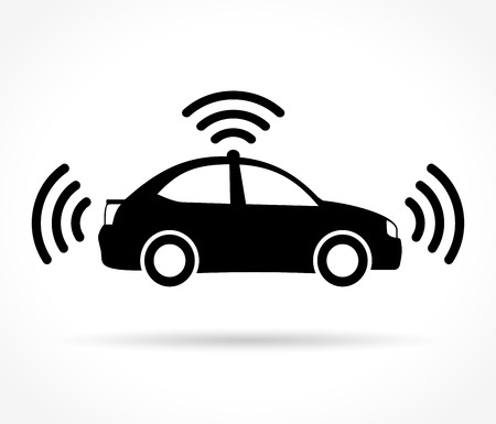 self driving car icon on white background