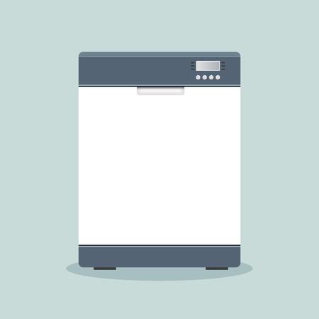 lavaplatos: Illustration of dishwasher icon flat design concept