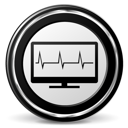 Illustration of monitor black and gray icon