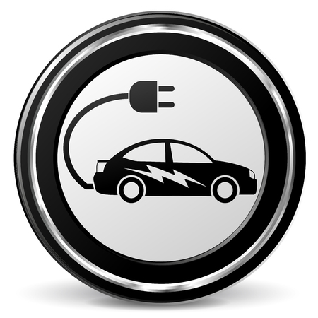 Illustration of electric car black and gray icon