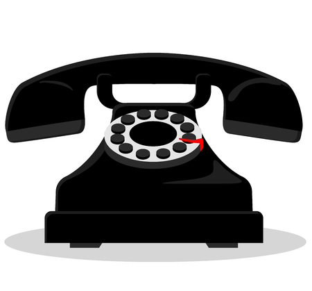 vintage phone: Illustration of black vintage phone on white background